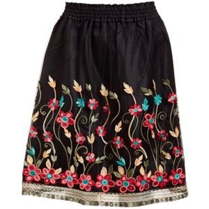 NWT August Silk Floral Embroidered A-Line Skirt